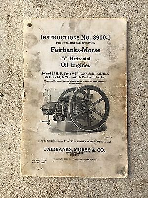 Original Fairbanks Morse Y Oil Stationary Hit Miss Engine Manual
