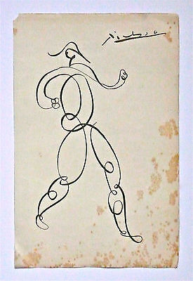 PABLO PICASSO - A 1930s to 1940s ORIGINAL CUBIST INK DRAWING, SIGNED, DISCOUNTED