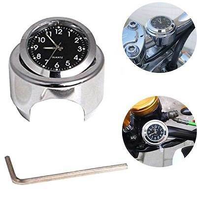 "Universal 7/8"" Motorcycle Waterproof Motor-bike Handlebar Mount Dial Clock Temp"