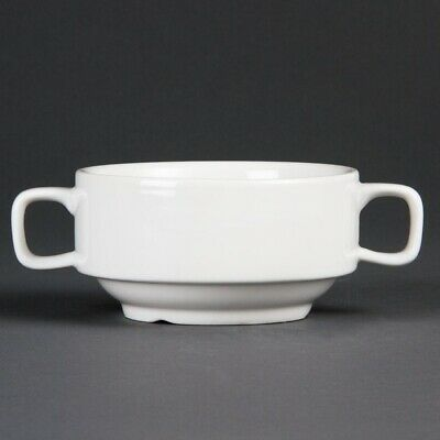 Olympia (Pack of 6) Whiteware Soup Bowl With Handles 115mm BARGAIN
