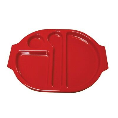 Kristallon (Pack of 10) Plastic Food Compartment Tray Red Large BARGAIN
