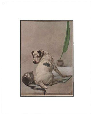 Antique Fox Terrier Puppy Dog Print by Maud Earl 1912 8x10 Matted