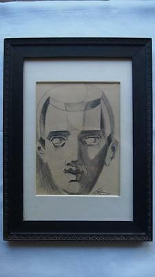Early Cubist Futurist Pencil Charcoal Drawing - Signed Portrait (illegible)