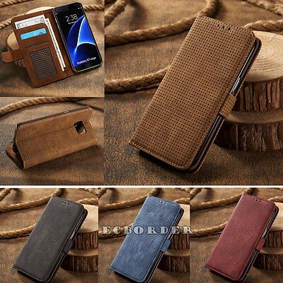 Genuine PU Leather Magnetic Flip Card Wallet Phone Cover Case For Samsung S7