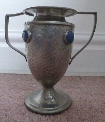 Ashberry pewter vase wtih Ruskin cabouchons - Arts & Crafts
