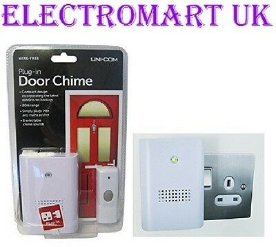 Wireless Cordless Plug In Door Bell 8 Selectable Chimes 80M Range