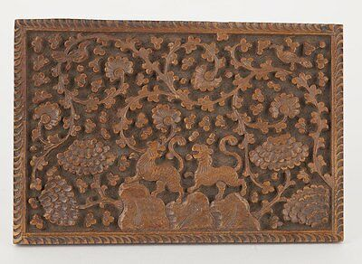 Antique Asian Deep Carved Wooden Panel With Tigers C.1900