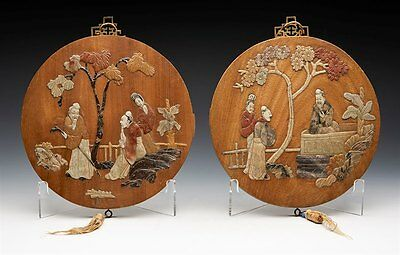Pair Vintage Chinese Stone Inlaid Figural Plaques Early 20Th C.