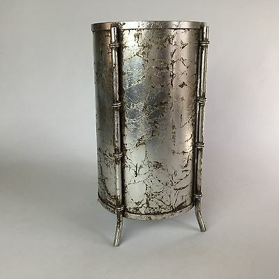 Vintage Italian Silver Gilt Tole Metal Faux Bamboo Wastebasket