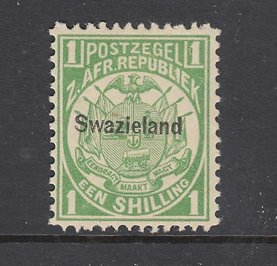Swaziland Sc 5 MNH. 1889 1s green Coat of Arms with Swazieland overprint