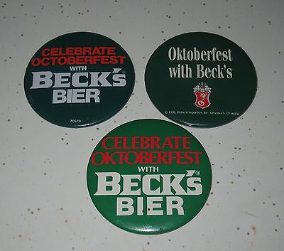 Set Of 3 Beck's Beer Buttons W / Pins Celebrating Oktoberfest