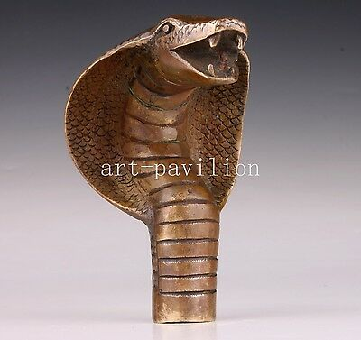 Bronze Statue Cobra Engraving Statue Crutch Walking Stick Cane Head Vintage