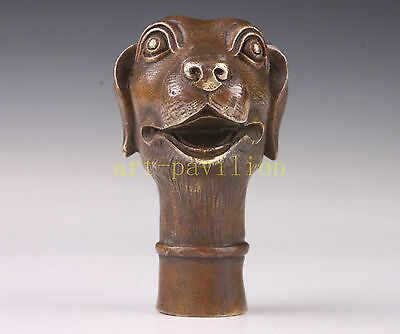 Lovely Dog Statue Bronze Walking Stick Cane Head Handle Decoration Vintage