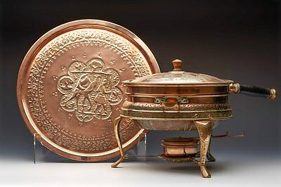 Antique Middle Eastern Figural Copper Chafing Dish & Stand Early 20Th C.