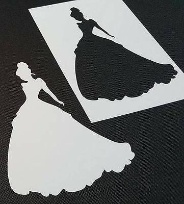 Princess Cinderella Reusable Silhouette Stencil Wall Cake Party Card Painting