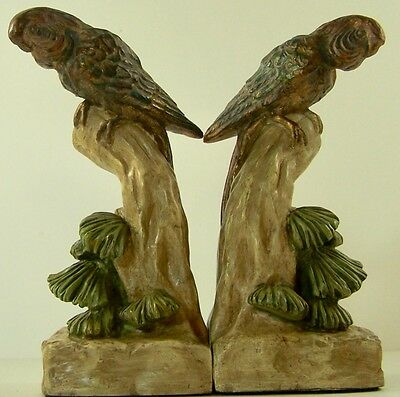 Vintage Parrot Bookends Tropical Heavy Cast
