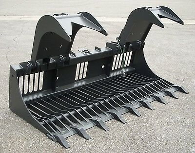 "Kubota Skid Steer Attachment 84"" Rock Bucket Grapple with Teeth - Ship for $149"