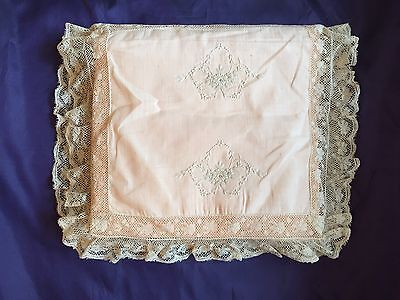 """Antique French Valenciennes Lace Pink Silk Crepe Chine Hand Embroidery 21"""" X 13"""