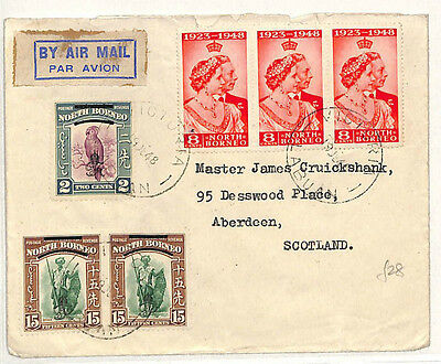 W60 1948 NORTH BORNEO AIRMAIL Mixed Franking Cover Aberdeen {samwells-covers}