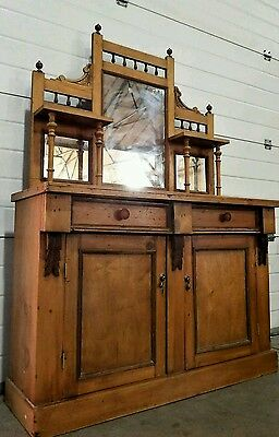 Antique rustic pine chiffonier sideboard cupboard with mirror