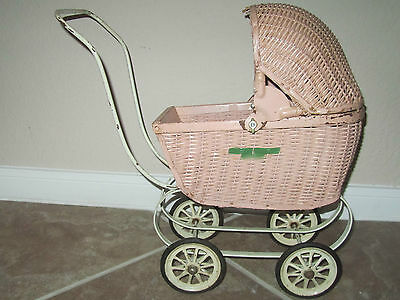 Vintage Doll Carriage Stroller Pink Wicker South Bend Toy 1950s-60s Flip Hood
