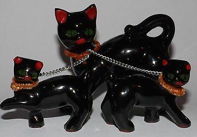 Black Cat figurines, Japan, Mama and two kittens, Very Cute