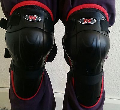 Kids Motorbike Motocross Protection Hinged Knee Guards Pads Gear Red/black