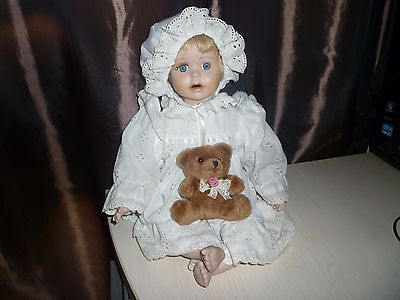 Porcelain Baby Doll with Teddy bear toy - 12 inches high