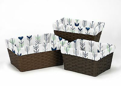 Navy Woodland Arrow Organizer Storage Basket Liners Fit Small Medium Large Bin