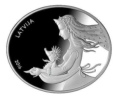 Latvia 2016 Hedgehog's Coat Fairy Tale Oval Silver Proof COA 5€ Sold Out at Mint