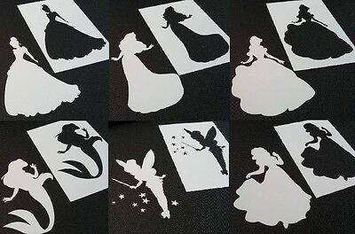 Set of 6pcs Disney Style Princesses Reusable Stencils + 6pcs Cut Out Princesses