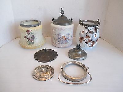 Vtg. Lot of 3 Hand Painted Biscuit Cracker Jars Floral Glass Victorian Lid Parts