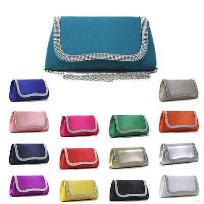 New Women Satin Evening Bag Pleated Rhinestones Clutch Handbag Wedding Party