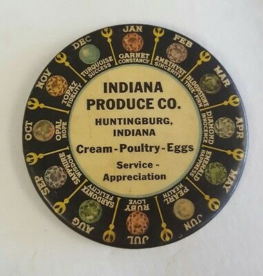 Indiana Produce Co. Advertising Pocket Mirror Celluloid Tin Huntingburg IN sign