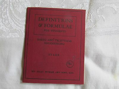 Definitions and Formulae for Students Radio and Television Engineering Starr '43