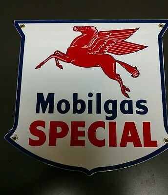 MOBILGAS Special  Gas Oil Pump Porcelain Metal sign