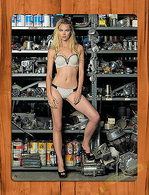 "TIN-UPS TIN SIGN ""Garage Girl"" Auto Pin Up Vintage Garage Man Cave Wall Decor"