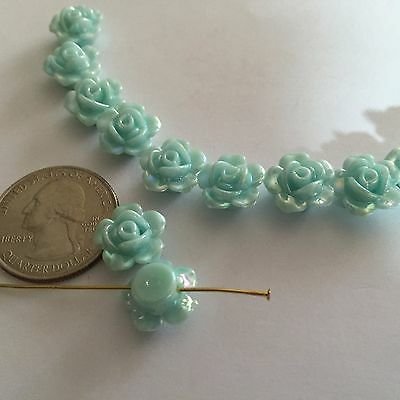 30 Pretty AB Soft Blue Carved Rose Acrylic Flower Beads With Hole Drilled