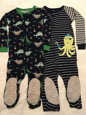 Lot Of 2 CARTERS Boys Size 3 3T Zip Up Footed Sleeper PAJAMAS DINOSAURS OCTOPUS