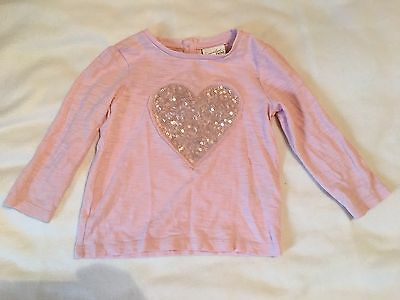 NEXT pale Pink Long Sleeve Top 9-12 Months Baby Girl
