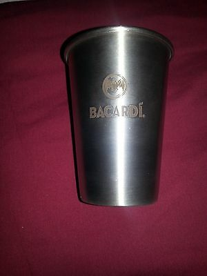 Bacardi Rum -  2 Piece Stainless Steel Cocktail Shaker & Shotglass Set *new*