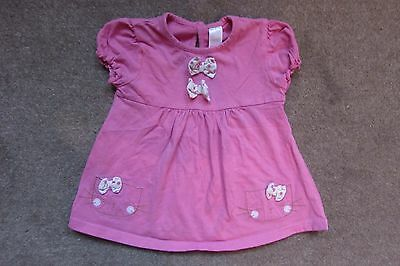 NEXT Baby Girls Pink Bows Embroidered Kittens Top age 9-12 months