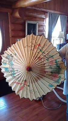 antique Asian hand painted rice paper parasol birds scene