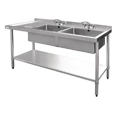 Vogue Double Bowl Sink Left Hand Drainer 1800mm BARGAIN