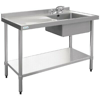 Vogue Stainless Steel Single Bowl Sink Left Hand Drainer 1200mm BARGAIN