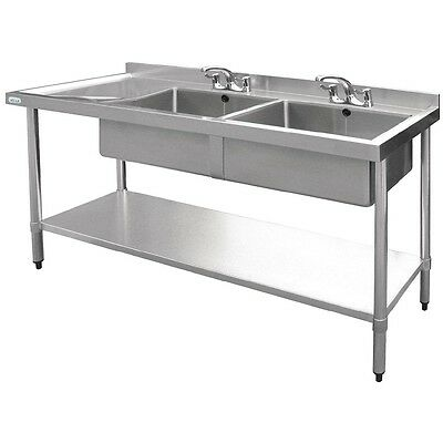 Vogue Stainless Steel Double Bowl Sink Left Hand Drainer 1500mm BARGAIN
