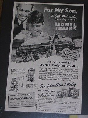 1946 Lionel Train Track Electric Toy Vintage Print Ad~