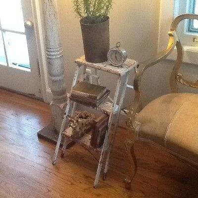 Vintage antique Shabby PRIMITIVE  FOLDING 3 STEP LADDER STOOL  wood/metal