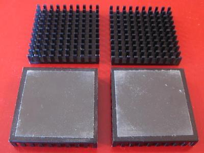 Black Aluminum 43X43X8 HEAT SINK with Thermal Adhesive  ( Qty 4 )  ** NEW **