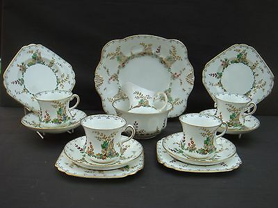 Vintage Art Deco Tuscan China Plant 15 Piece Floral Tea Set